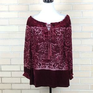 Sundance Red Velvet Off The Shoulder Top Blouse
